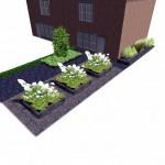 3D tuinontwerp strakke moderne tuin