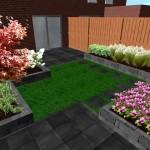 Tuinontwerp 3D strakke speelse tuin